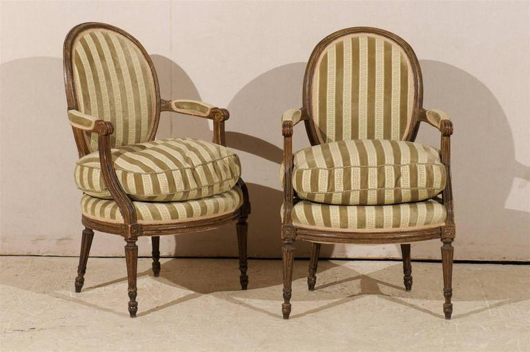 Pair of French 19th Century Louis XVI Style Bergères Oval Back Chairs 2