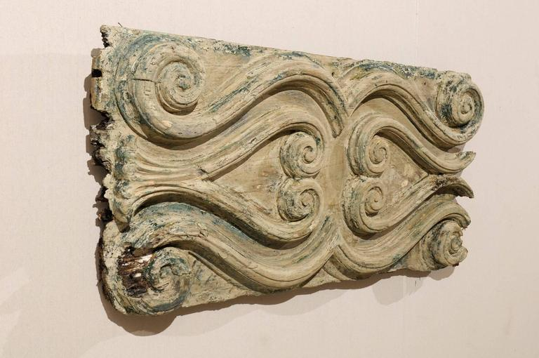 Italian Wood Carved Decorative Wall Plaque, Volute Motifs, Blue/Green  Accents In Good