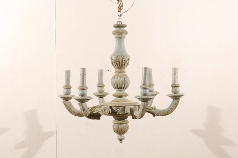 A French Six Light Carved And Painted Wood Chandelier This Vintage From