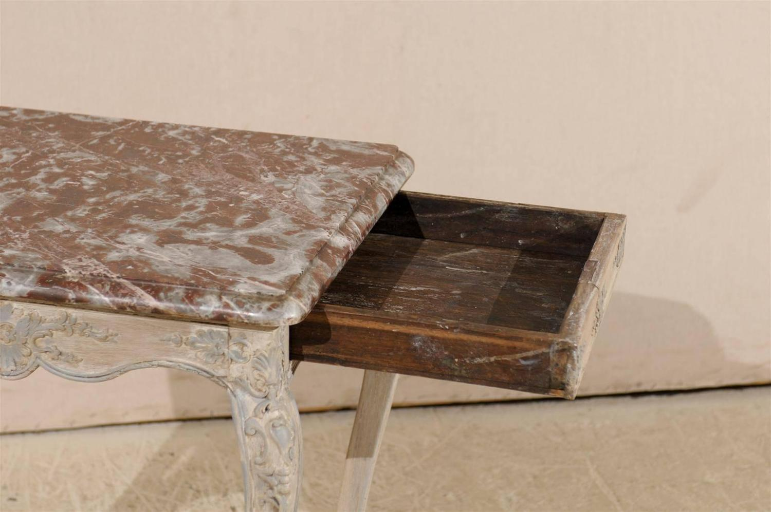 Red Marble Top : French early th century louis xv style side table with