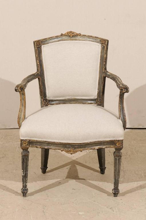 Single Italian Armchair With Richly Carved Wood Details In