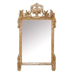 French Gilded and Ornately Carved Wood Mirror with Urn Motif Crest, Gold Color
