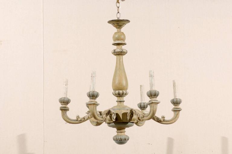 French carved and painted wood six light vintage chandelier neutral a french carved and painted wood six light vintage chandelier this french chandelier from aloadofball Images