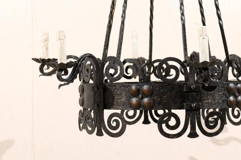 Italian Six-Light Black Iron Ring Chandelier with Scroll Motifs and Domed Canopy For Sale 3