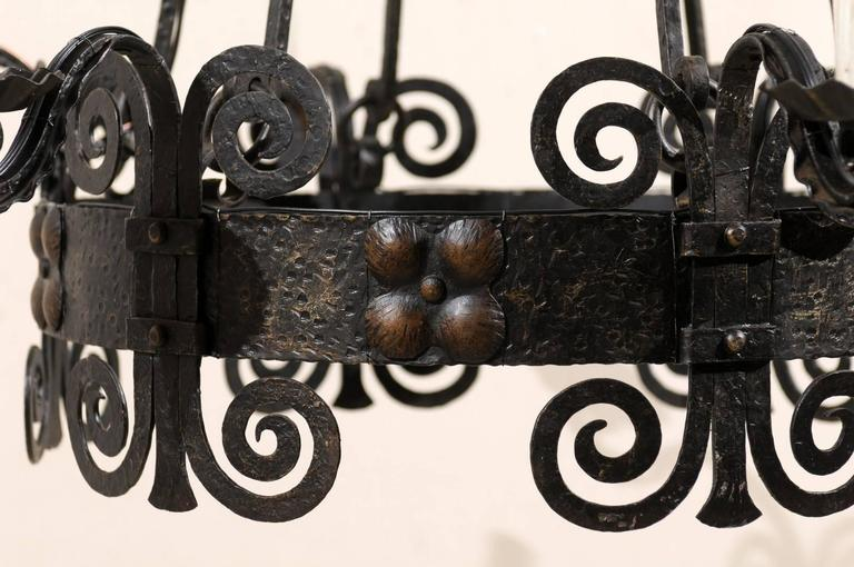 Italian Six-Light Black Iron Ring Chandelier with Scroll Motifs and Domed Canopy For Sale 2