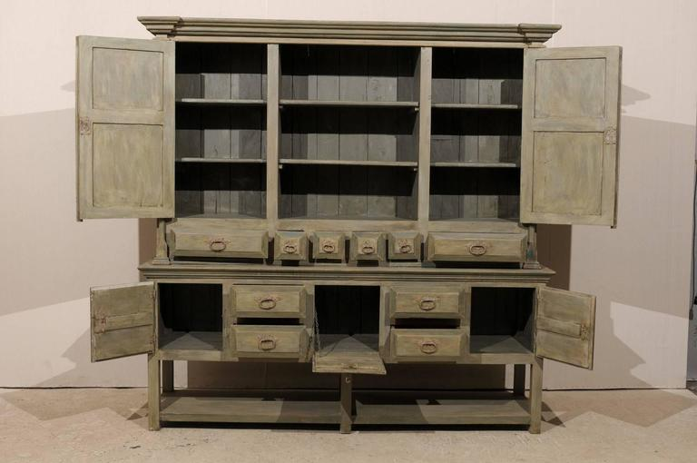 Brazilian Painted Wood Cabinet In Grey Green Color With