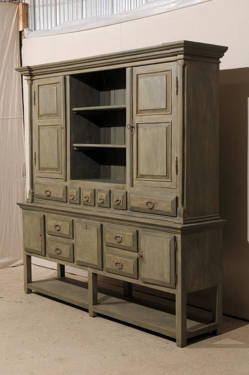 Brazilian painted wood cabinet in grey green color with for Ample storage