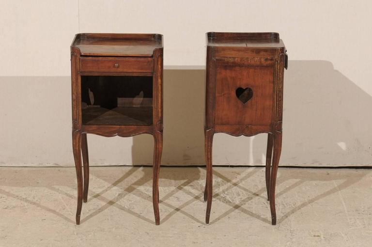 Pair of French Stained Wood Side Tables or Nightstands in Warm Cabernet Mahogany For Sale 1