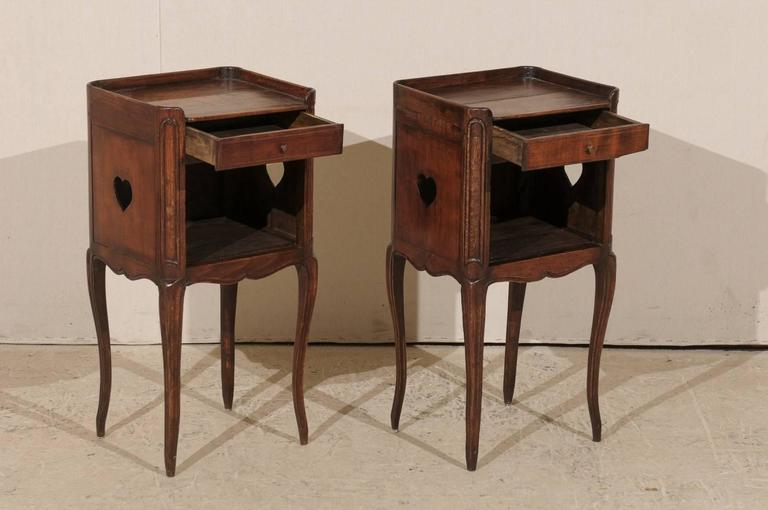 Pair of French Stained Wood Side Tables or Nightstands in Warm Cabernet Mahogany For Sale 2