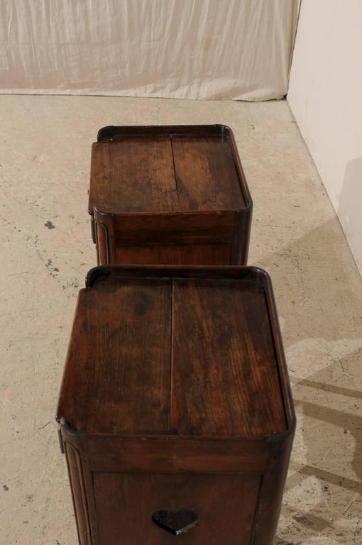 Pair of French Stained Wood Side Tables or Nightstands in Warm Cabernet Mahogany For Sale 3
