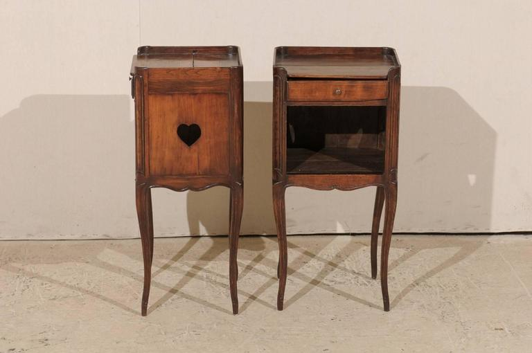 Pair of French Stained Wood Side Tables or Nightstands in Warm Cabernet Mahogany For Sale 4
