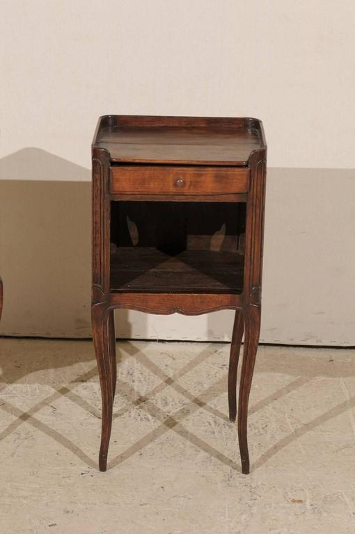 Pair of French Stained Wood Side Tables or Nightstands in Warm Cabernet Mahogany For Sale 6