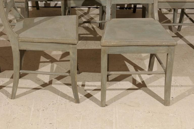 20th Century Set of 12 Beautifully Carved & Painted Wood Side Dining Chairs, Early 20th C.  For Sale