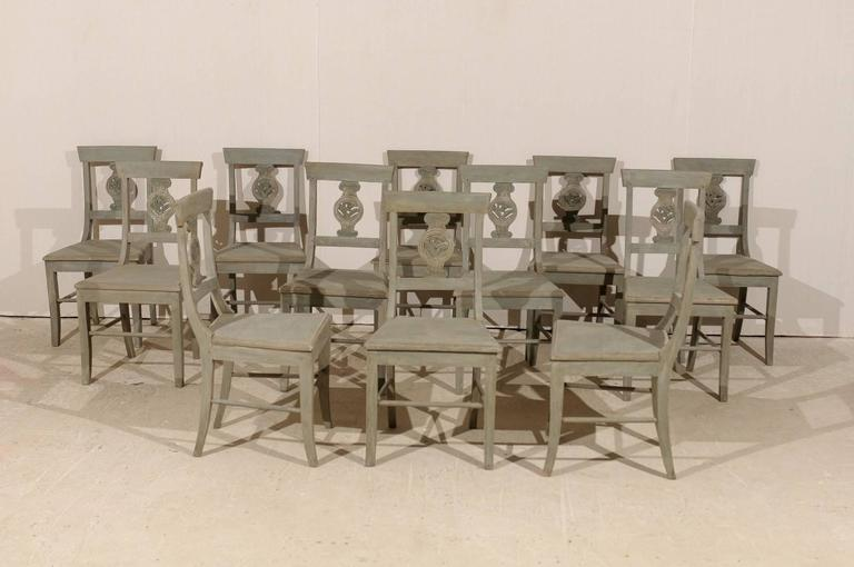 Brazilian Set of 12 Beautifully Carved & Painted Wood Side Dining Chairs, Early 20th C.  For Sale