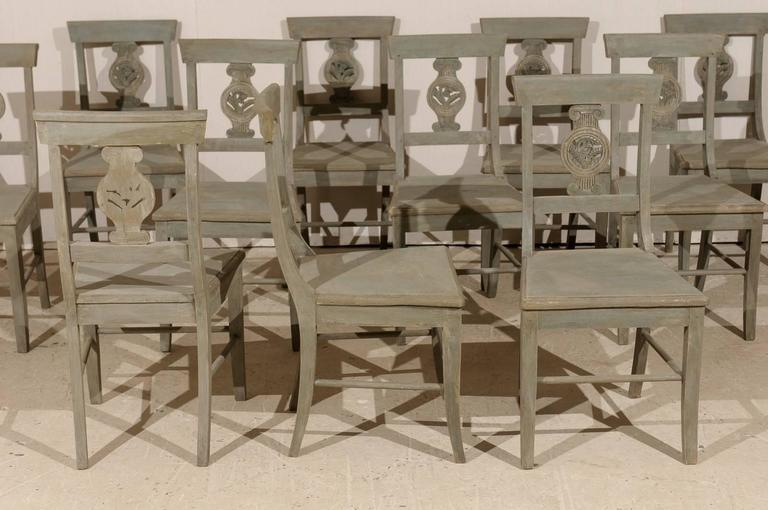 Set of 12 Beautifully Carved & Painted Wood Side Dining Chairs, Early 20th C.  For Sale 1