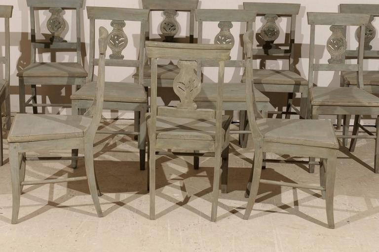 Set of 12 Beautifully Carved & Painted Wood Side Dining Chairs, Early 20th C.  For Sale 2