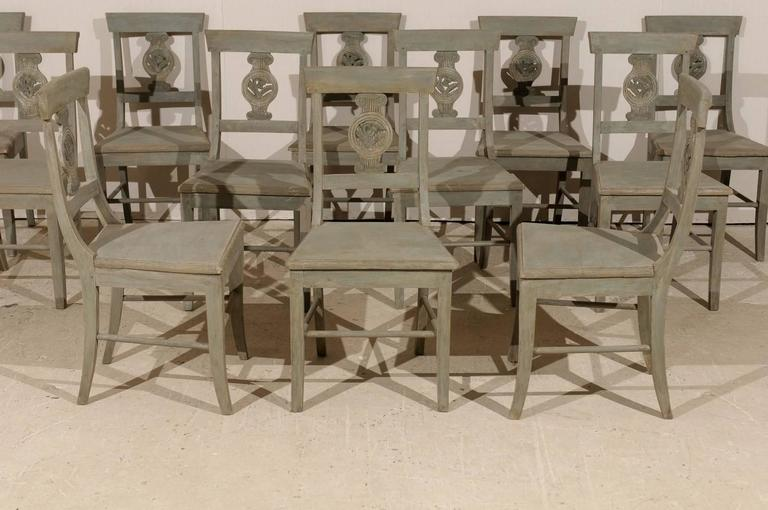 Set of 12 Beautifully Carved & Painted Wood Side Dining Chairs, Early 20th C.  For Sale 3