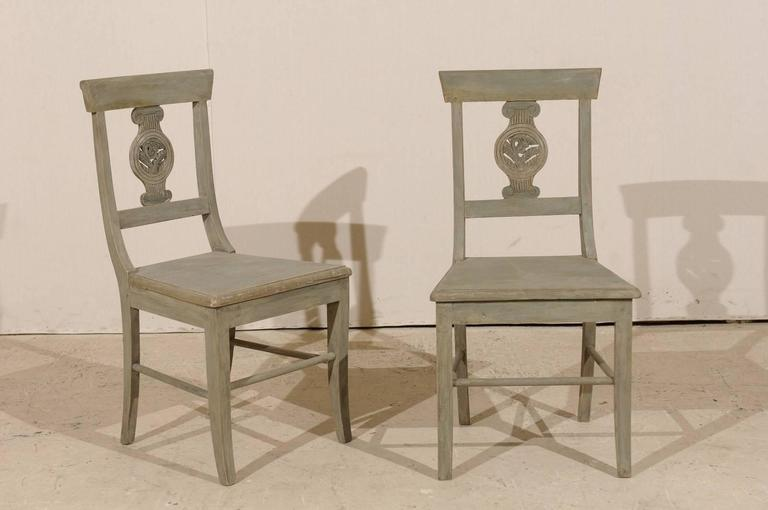 Set of 12 Beautifully Carved & Painted Wood Side Dining Chairs, Early 20th C.  For Sale 4
