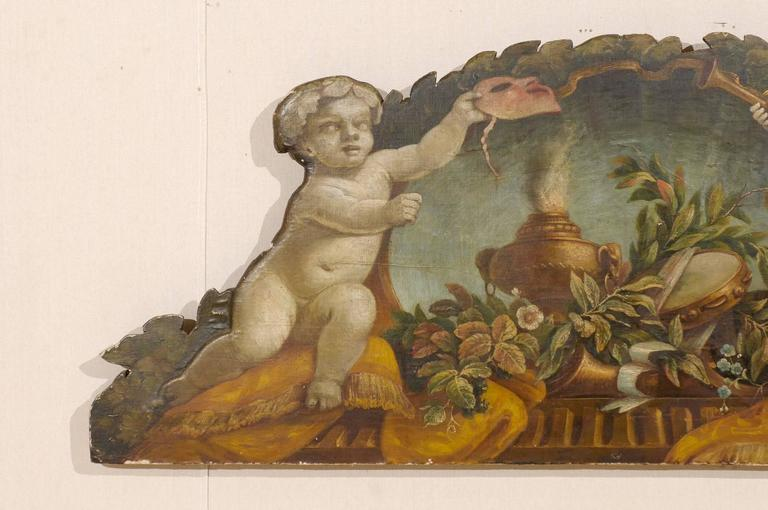 Carved Exquisite 19th Century Italian Panel Featuring Allegories of Music and Theater For Sale