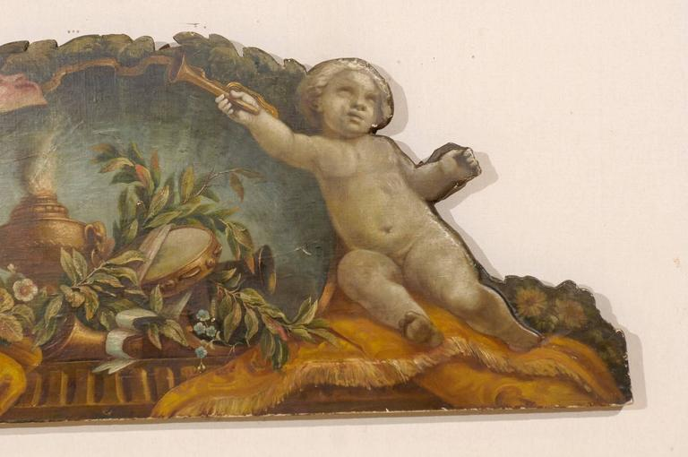 Canvas Exquisite 19th Century Italian Panel Featuring Allegories of Music and Theater For Sale