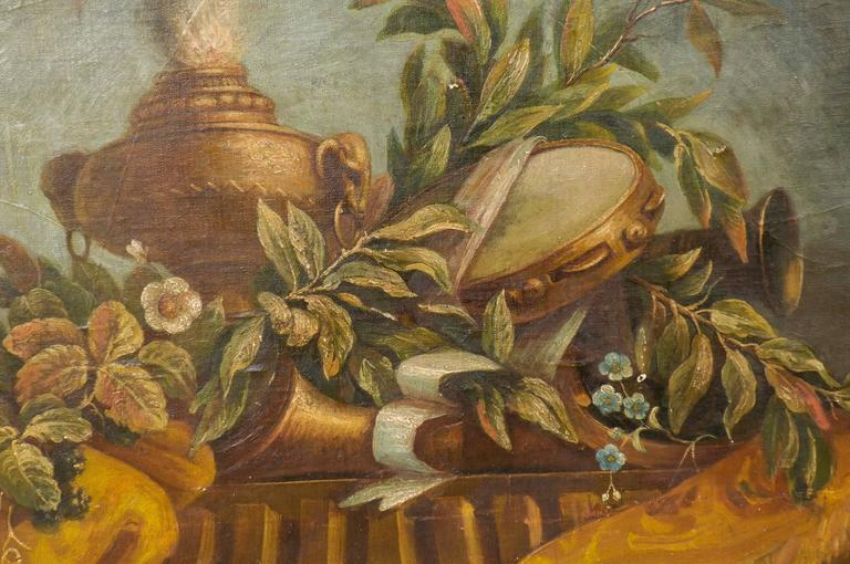 Exquisite 19th Century Italian Panel Featuring Allegories of Music and Theater In Good Condition For Sale In Atlanta, GA