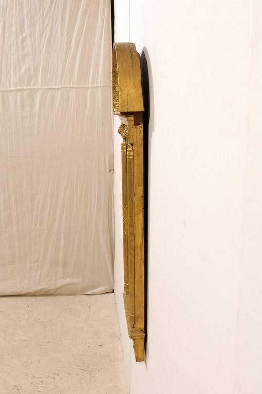 Wood Swedish Gilded Mirror, circa 1820 with Arched Crest and Flanking Half Columns For Sale