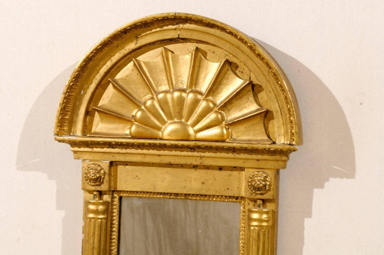 Swedish Gilded Mirror, circa 1820 with Arched Crest and Flanking Half Columns In Good Condition For Sale In Atlanta, GA
