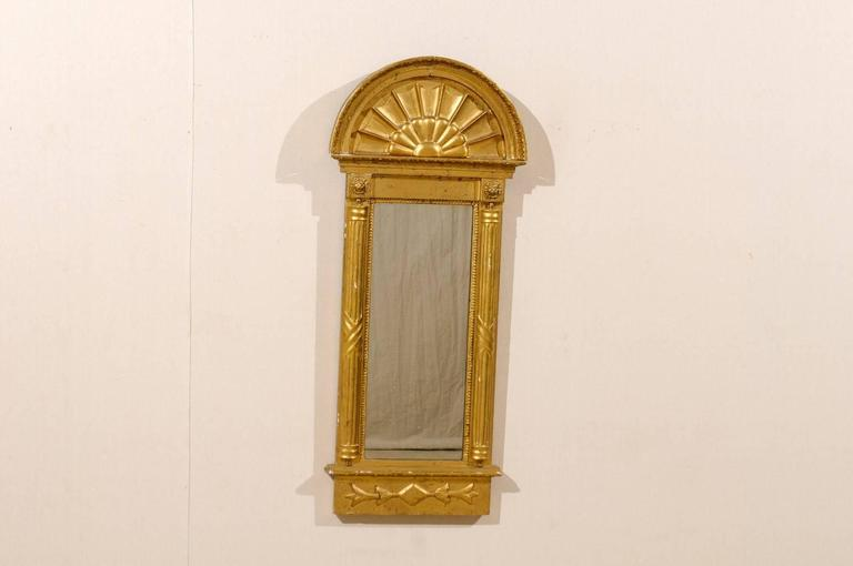 Gilt Swedish Gilded Mirror, circa 1820 with Arched Crest and Flanking Half Columns For Sale