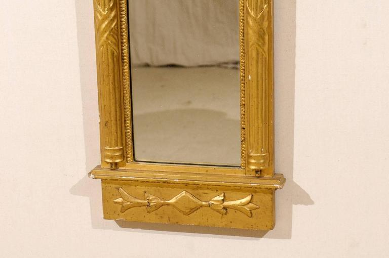 19th Century Swedish Gilded Mirror, circa 1820 with Arched Crest and Flanking Half Columns For Sale