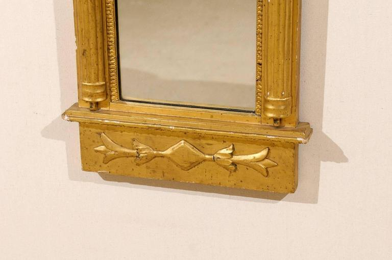 Swedish Gilded Mirror, circa 1820 with Arched Crest and Flanking Half Columns For Sale 1