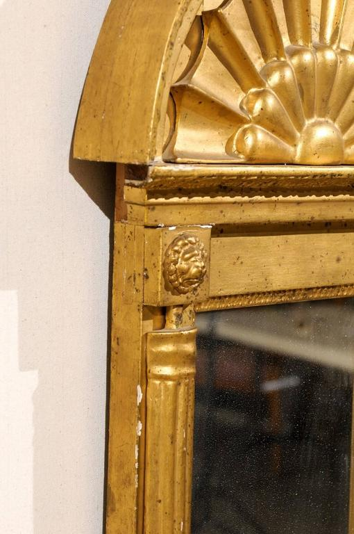 Swedish Gilded Mirror, circa 1820 with Arched Crest and Flanking Half Columns For Sale 2