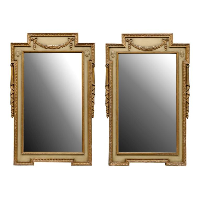 Pair of Swedish Early 20th Century Gilded and Painted Mirrors