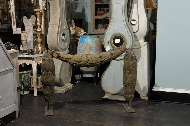 Neoclassical A Large Swedish 18th C. Tole Swag Architectural Element Mounted on Metal Stand For Sale