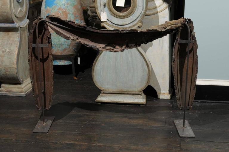 Painted A Large Swedish 18th C. Tole Swag Architectural Element Mounted on Metal Stand For Sale