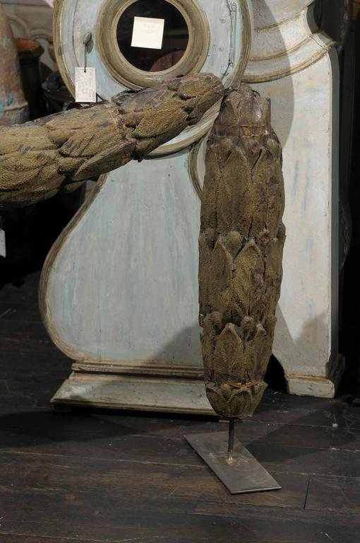 18th Century and Earlier A Large Swedish 18th C. Tole Swag Architectural Element Mounted on Metal Stand For Sale