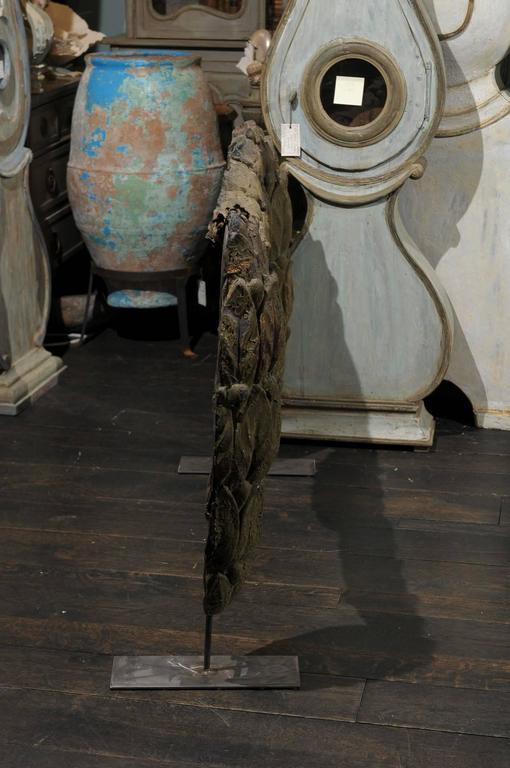 A Large Swedish 18th C. Tole Swag Architectural Element Mounted on Metal Stand For Sale 1