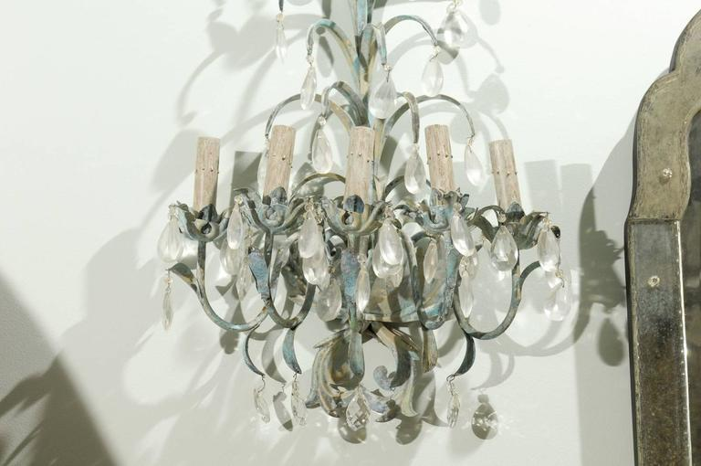 Hand-Painted French Vintage Painted Metal and Crystal Five-Light Sconces For Sale