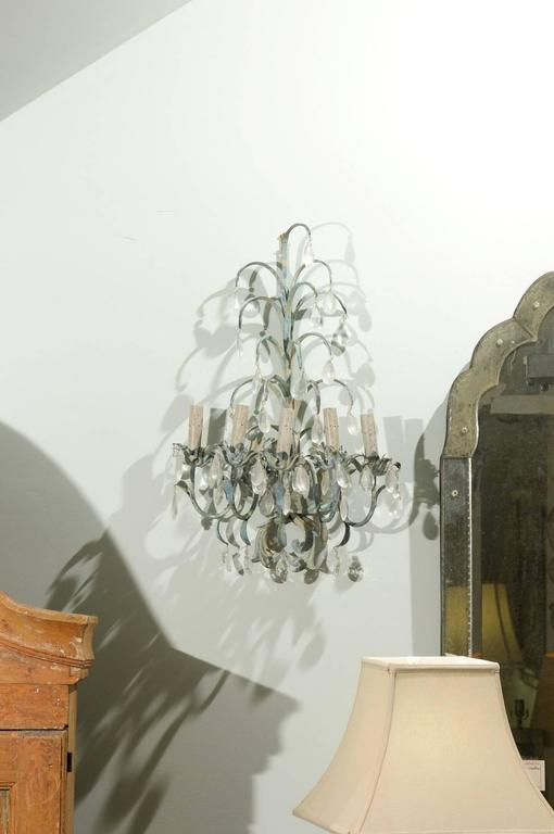 French Vintage Painted Metal and Crystal Five-Light Sconces For Sale 3