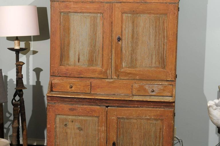 19th Century Swedish Early 19th C. Karl Johan Clock Cabinet with Original Paint & Clock Face For Sale