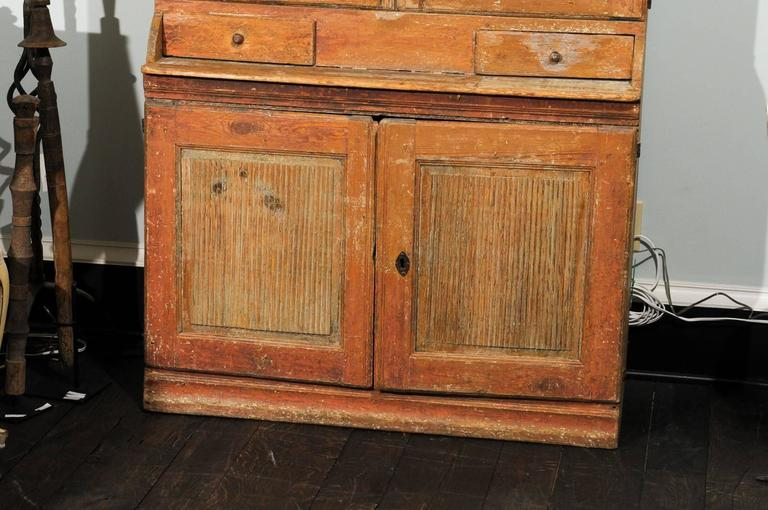 Fir Swedish Early 19th C. Karl Johan Clock Cabinet with Original Paint & Clock Face For Sale