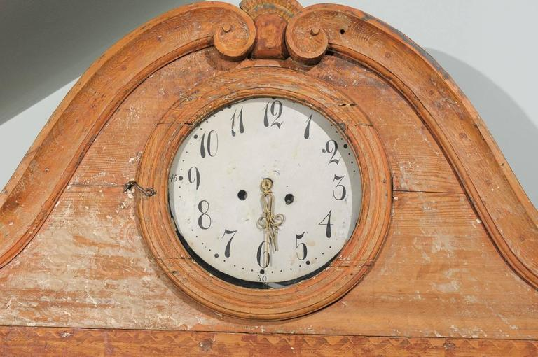 Swedish Early 19th C. Karl Johan Clock Cabinet with Original Paint & Clock Face In Good Condition For Sale In Atlanta, GA