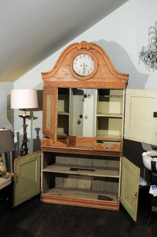 Swedish Early 19th C. Karl Johan Clock Cabinet with Original Paint & Clock Face For Sale 1