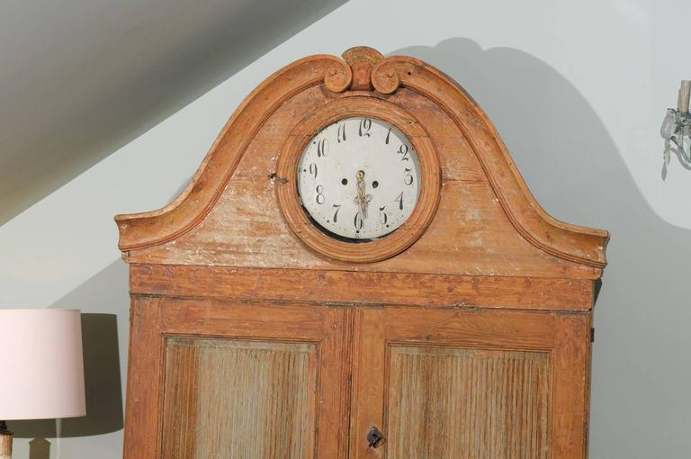 Hand-Painted Swedish Early 19th C. Karl Johan Clock Cabinet with Original Paint & Clock Face For Sale