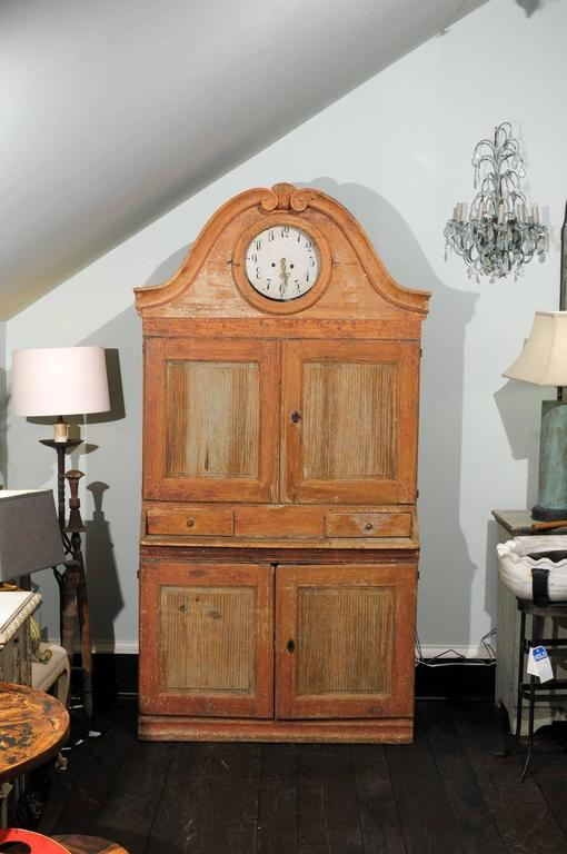 Swedish Early 19th C. Karl Johan Clock Cabinet with Original Paint & Clock Face For Sale 3