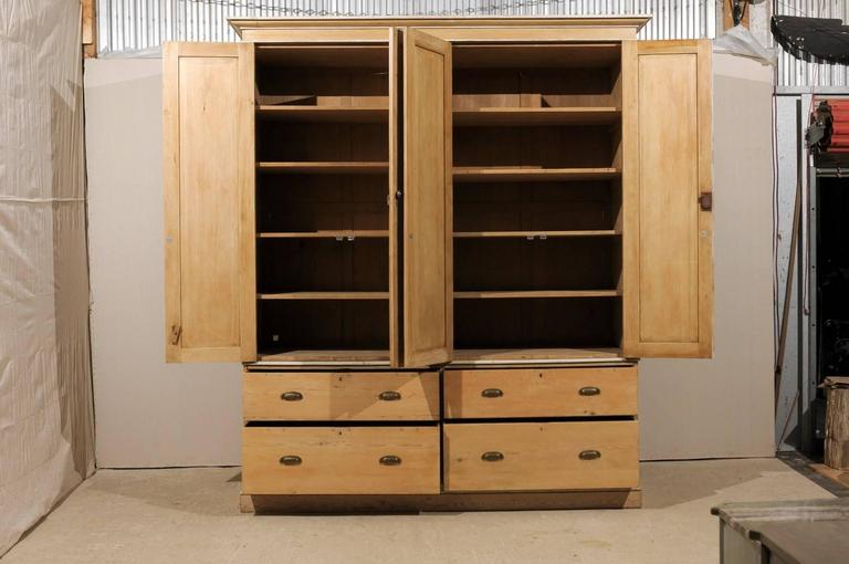 English Large Size Vintage Natural Wood Cabinet, Four Doors and Drawers For Sale 1