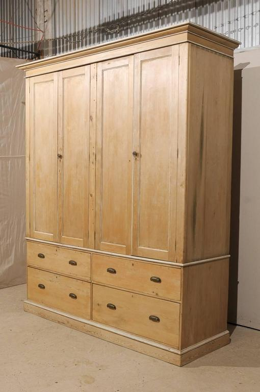 20th Century English Large Size Vintage Natural Wood Cabinet, Four Doors and Drawers For Sale