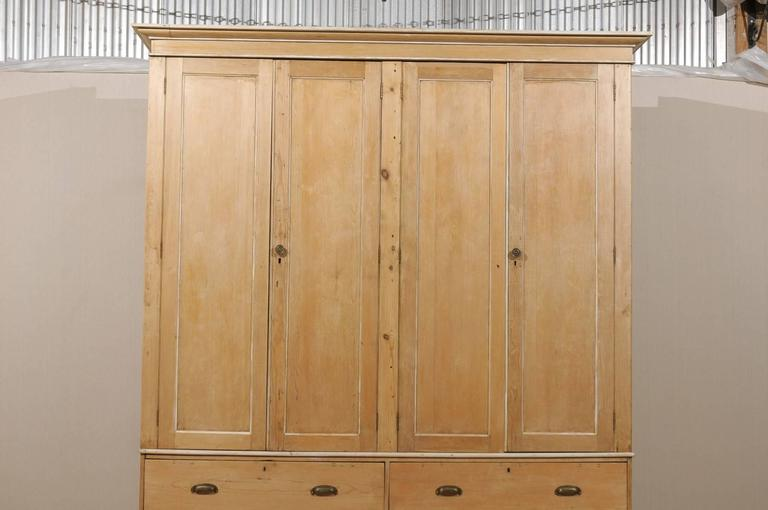 English Large Size Vintage Natural Wood Cabinet Four Doors And Drawers For Sale At 1stdibs