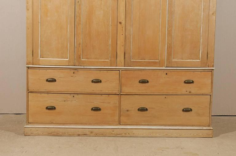 English Large Size Vintage Natural Wood Cabinet, Four Doors and Drawers In Good Condition For Sale In Atlanta, GA