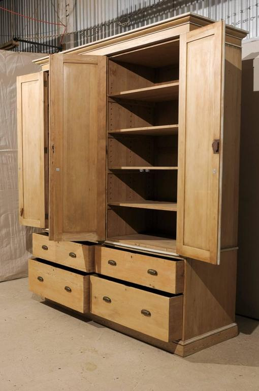 English Large-Size Natural Wood Storage Cabinet w/Drawers, Cleanly Designed For Sale 2