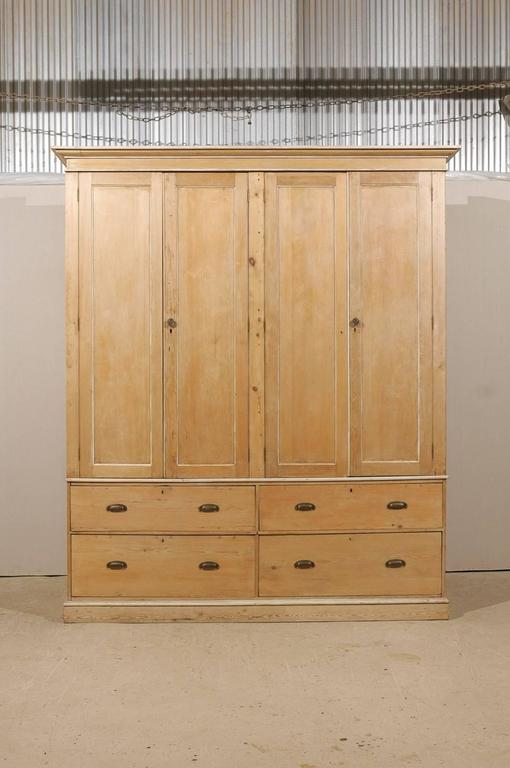 Superbe English Large Size Vintage Natural Wood Cabinet, Four Doors And Drawers